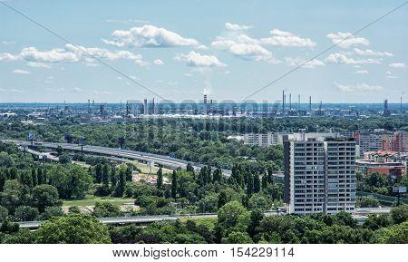Slovnaft refinery in Bratislava Slovak republic. Pollution theme. Factory chimneys.