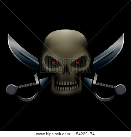 Realistic illustration of pirate skull with red eyes and sabers on background. Pirate sign, piracy symbol