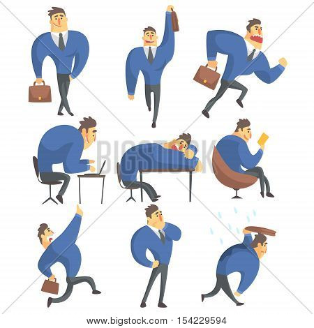 Businessman In A Suit Different Work Activities Set Of Drawings. Funny Male Character In Office Job Set OF Emotions And Daytime Activities In Financial Sphere Of Business.