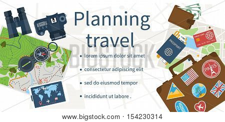 Travel planning concept. Planning vacation search place for holiday. Vector illustration flat design style. Banner template. Summer vacation holidays. Space for text.