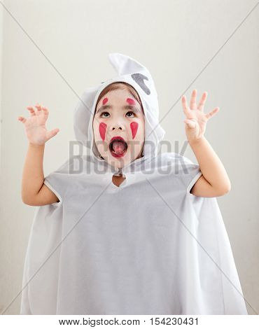 Asian Girl In Ghost Suite White