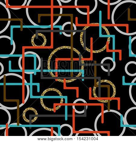 Geometry seamlessly background with lines, circles and rectangles. Vector illustration
