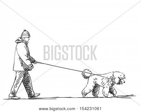 Sketch of man walking a dog on leash Hand drawn vector illustration