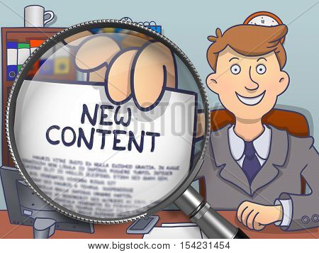 New Content. Businessman in Office Showing through Magnifier Paper with Inscription. Colored Doodle Style Illustration.