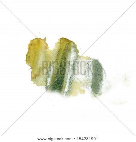 ink splatter watercolour green yellow dye liquid watercolor macro spot blotch texture isolated on white