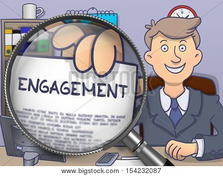 Engagement. Paper with Text in Businessman's Hand through Lens. Colored Modern Line Illustration in Doodle Style.
