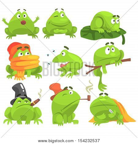 Green Frog Funny Character Set Of Different Activities. Flat Bright Color Isolated Funny Toad In Different Situations On White Background,