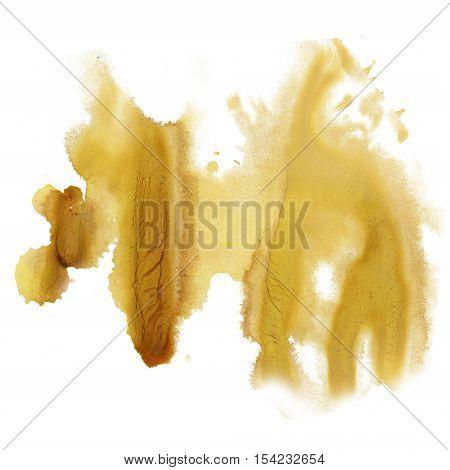 ink splatter watercolour brown yellow dye liquid watercolor macro spot blotch texture isolated on white