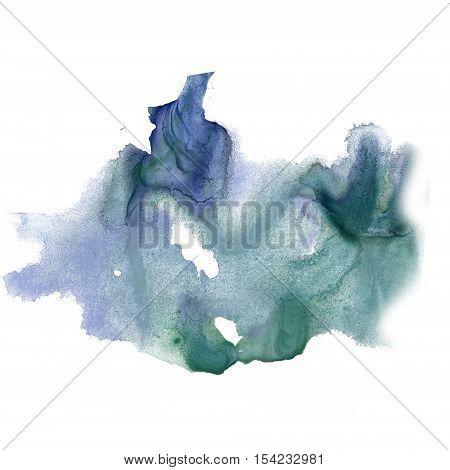 ink splatter watercolour dye blue green liquid watercolor macro spot blotch texture isolated on white