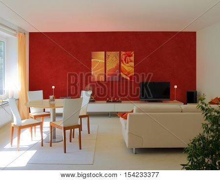 contemporary living and dining room with red wall to present images, photos or paintings