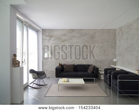 modern living room with rough cast wall and copy space for your own images