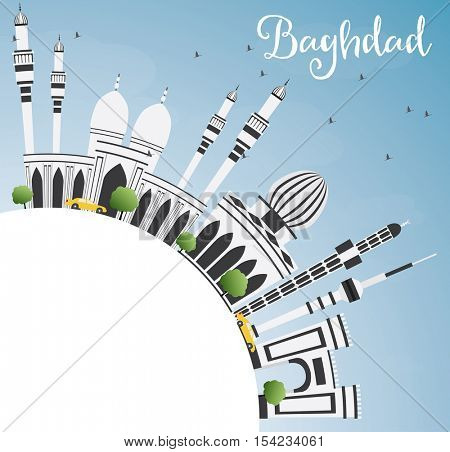 Baghdad Skyline with Gray Buildings, Blue Sky and Copy Space. Vector Illustration. Business Travel and Tourism Concept with Historic Architecture. Image for Presentation Banner Placard and Web Site.