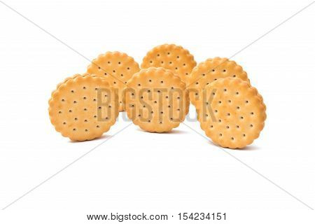 Sandwich biscuits filled with chocolate isolated on white