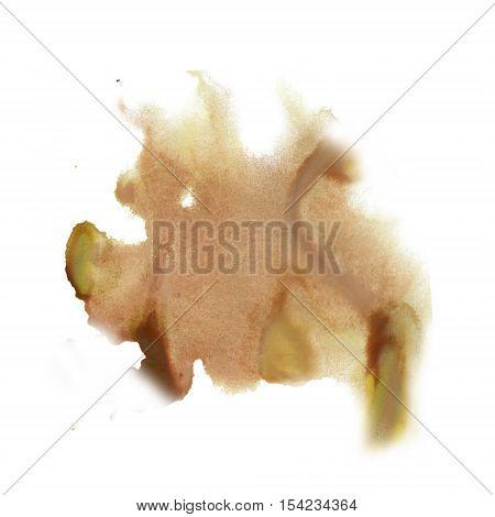 ink splatter watercolour dye liquid watercolor brown macro spot blotch texture isolated on white