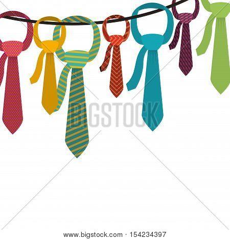 Multiple ties hanging on clothesline vector illustration