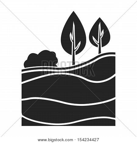 Layers of the earth icon in black style isolated on white background. Mine symbol vector illustration.