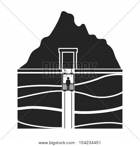 Mine shaft icon in black style isolated on white background. Mine symbol vector illustration.