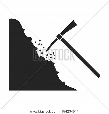 Pickaxe icon in black style isolated on white background. Mine symbol vector illustration.
