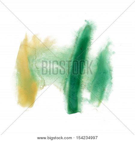 ink splatter watercolour dye liquid watercolor macro green brown spot blotch texture isolated on white