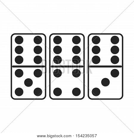 Domino icon in black style isolated on white background. Board games symbol vector illustration.