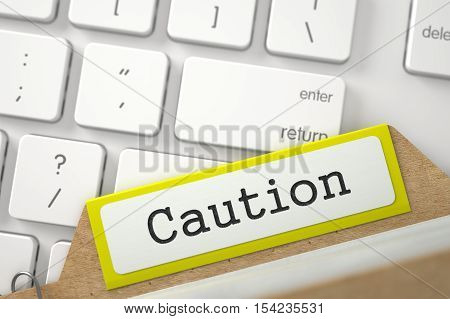 Yellow Index Card with Caution on Background of Modern Laptop Keyboard. Closeup View. Selective Focus. 3D Rendering.