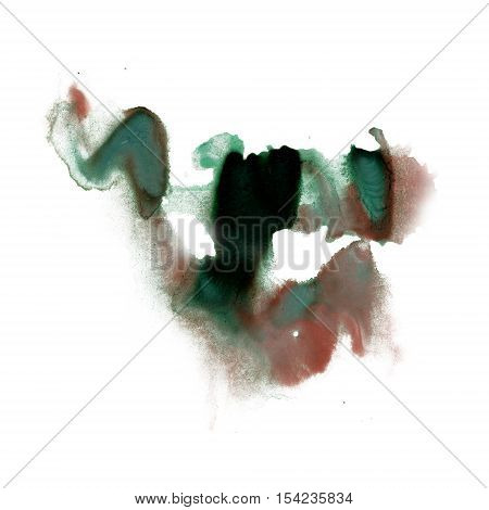 ink splatter watercolour dye liquid watercolor macro spot blotch brown green texture isolated on white