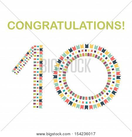 Congratulations! Ten years old. Digit. Vector illustration.
