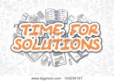 Cartoon Illustration of Time For Solutions, Surrounded by Stationery. Business Concept for Web Banners, Printed Materials.