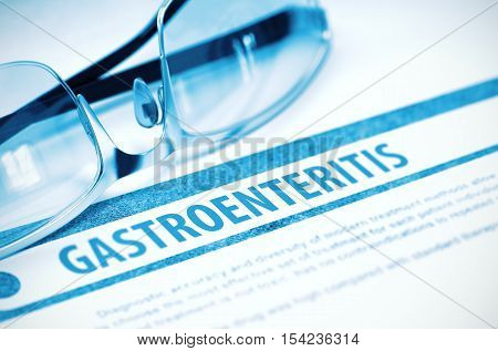 Gastroenteritis - Printed Diagnosis with Blurred Text on Blue Background with Eyeglasses. Medicine Concept. 3D Rendering.