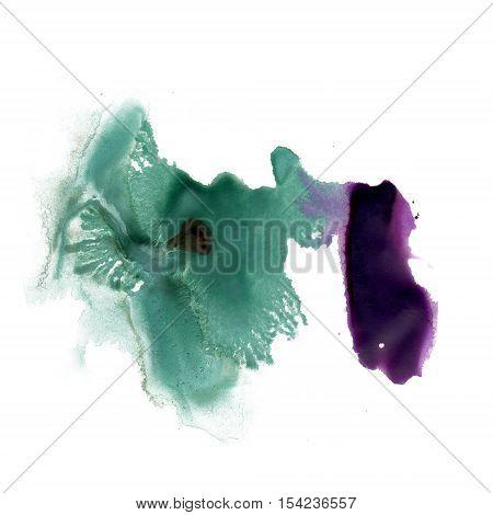 splatter ink green purple watercolour dye liquid watercolor macro spot blotch texture isolated on white