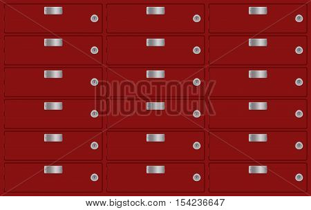 Deposit boxes. Red bank lockers. Vector illustration