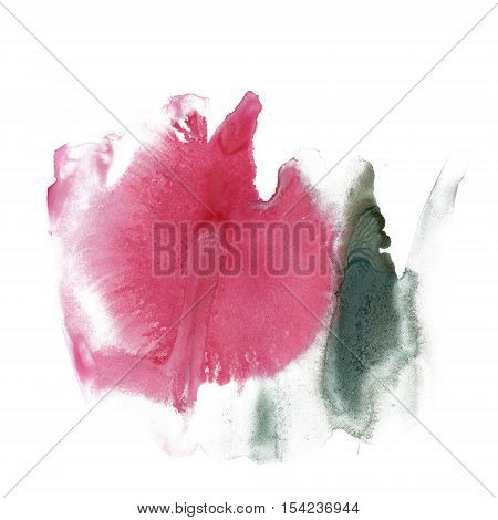 splatter ink watercolour pink green dye liquid watercolor macro spot blotch texture isolated on white