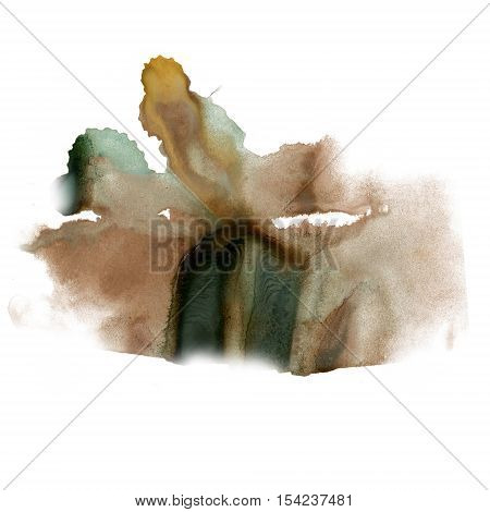 splatter ink watercolour dye brown black liquid watercolor macro spot blotch texture isolated on white
