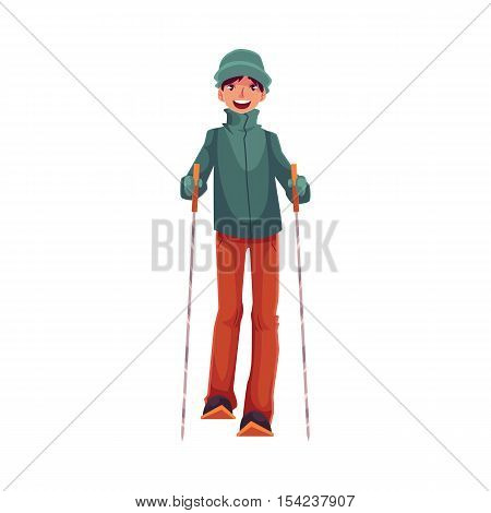 Teen-aged Caucasian boy with ski and poles, cartoon vector illustration isolated on white background. Full height portrait of nice teenage skier, fun winter activity, outdoor leisure time