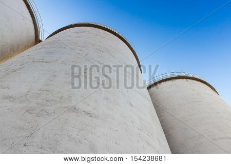 Large Tanks Made Of Concrete In A Row