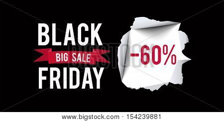 Black Friday sale design template. Black Friday 60 percent discount banner with black background. Vector illustration