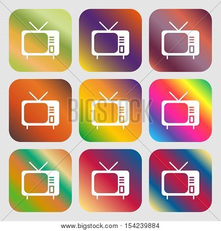 Tv Icon Sign. Nine Buttons With Bright Gradients For Beautiful Design. Vector