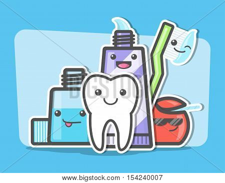 Best friends of healthy teeth. Dental and oral hygiene concept. Toothcare things. Funny vector illustration.