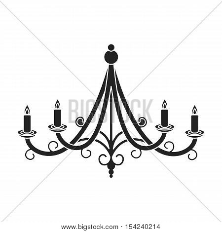 Chandelier icon in black style isolated on white background. Light source symbol vector illustration