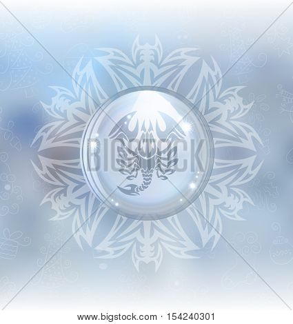 A vector illustration of a transparent snow globe in a snowflake frame on the blurred background with a zodiac sign Scorpio. Includes transparent objects and opacity masks.