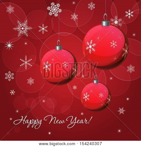 Christmas & New Year vector decoration design with red baubles. Winter Holidays vector background with baubles snowflakes & lights for greeting cards gift package decorations.