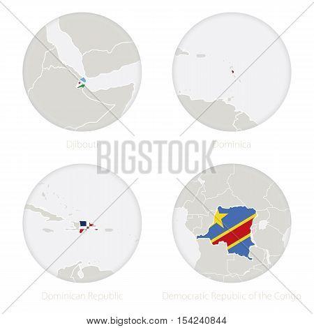 Djibouti, Dominica, Dominican Republic, Democratic Republic Of The Congo Map Contour And National Fl