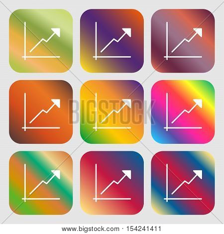 Chart Icon Sign. Nine Buttons With Bright Gradients For Beautiful Design. Vector