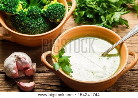 Broccoli Soup Made Of Fresh Vegetables With Garlic