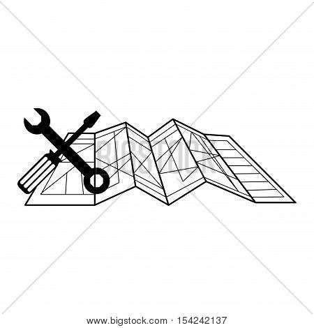 silhouette toolkit and architecture plans vector illustration