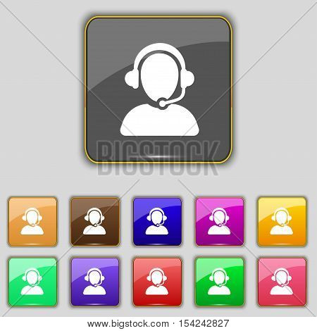 Customer Support Icon Sign. Set With Eleven Colored Buttons For Your Site. Vector