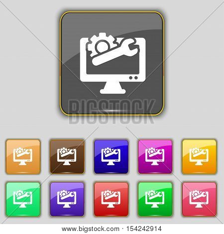 Repair Computer Icon Sign. Set With Eleven Colored Buttons For Your Site. Vector