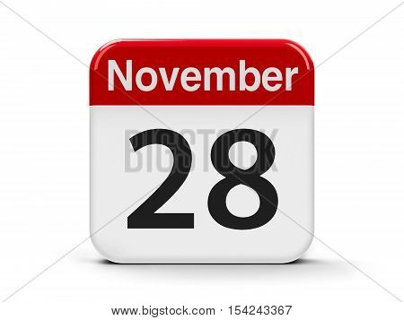 Calendar web button - The Twenty Eighth of November - Independence Day in Albania three-dimensional rendering 3D illustration