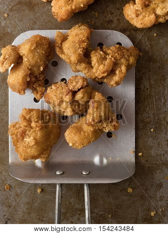 close up of rustic popcorn fried chicken nugget