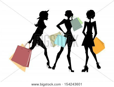Shopping sillhouettes set. Black sillhouettes of women with colorful shopping bags on white background. Elegant, young and slim women.